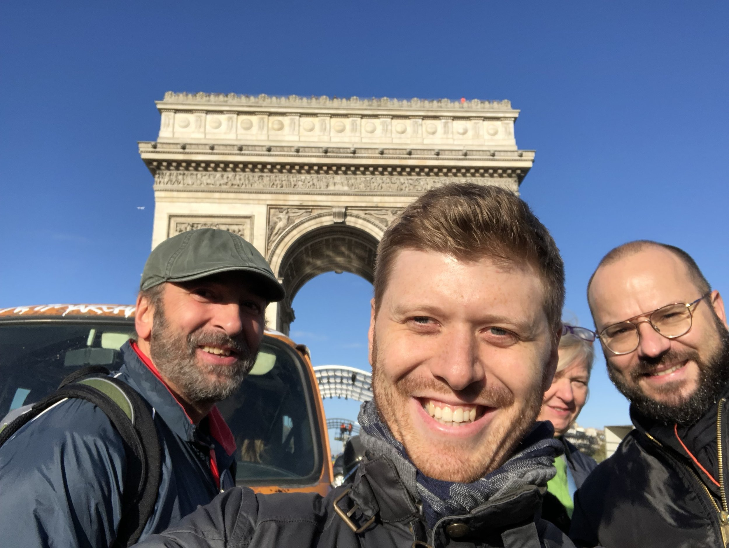 Grig with friends at Arc de Triomphe.JPG