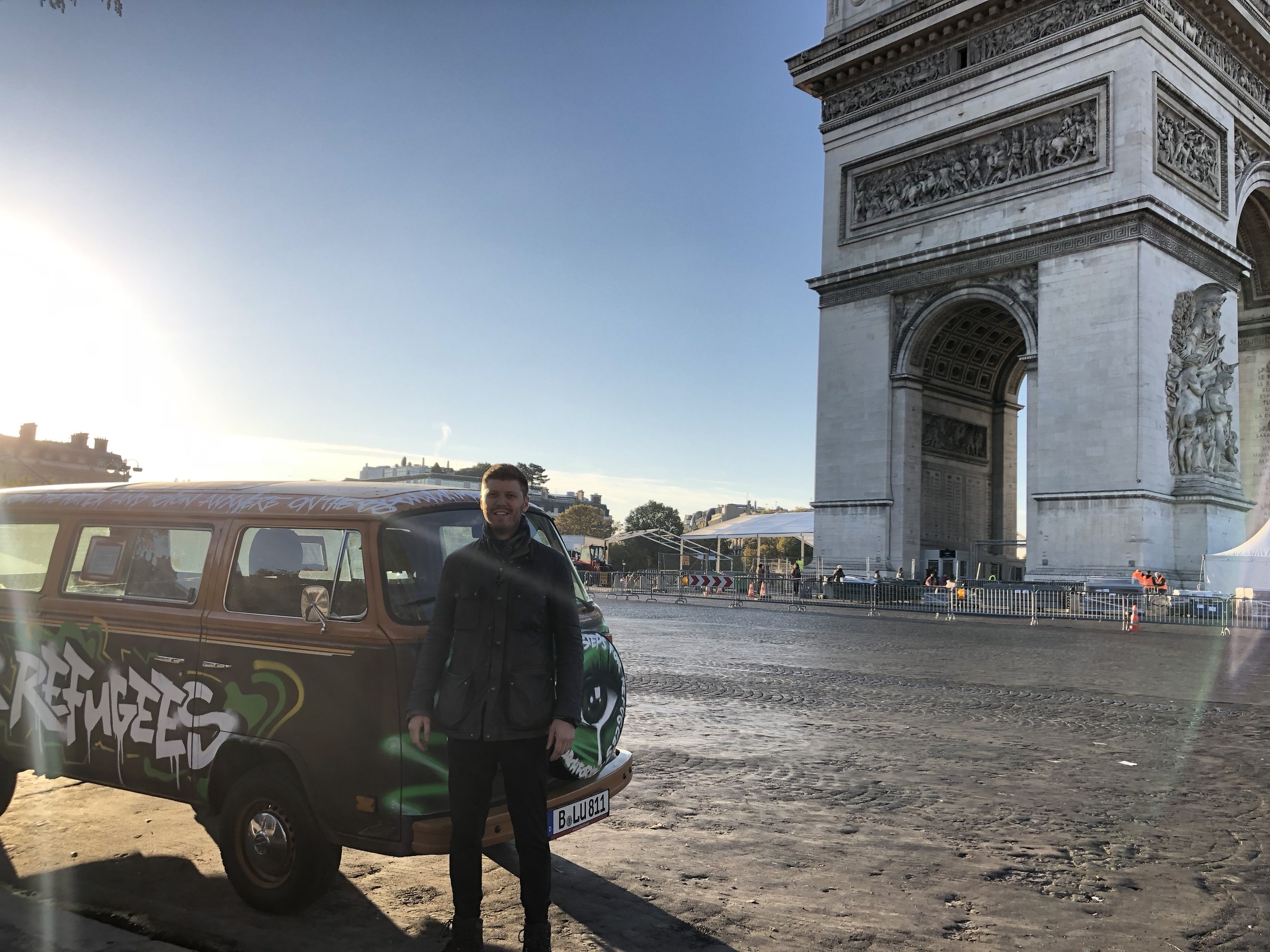 Grig with VW bus outside Arc de Triomphe.JPG