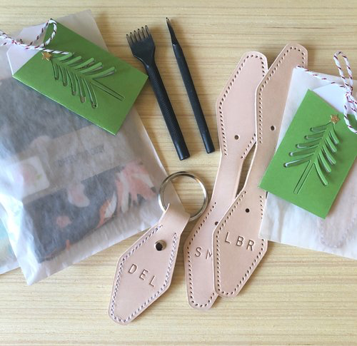 custom key fobs | hand-stamped + saddle-stitched