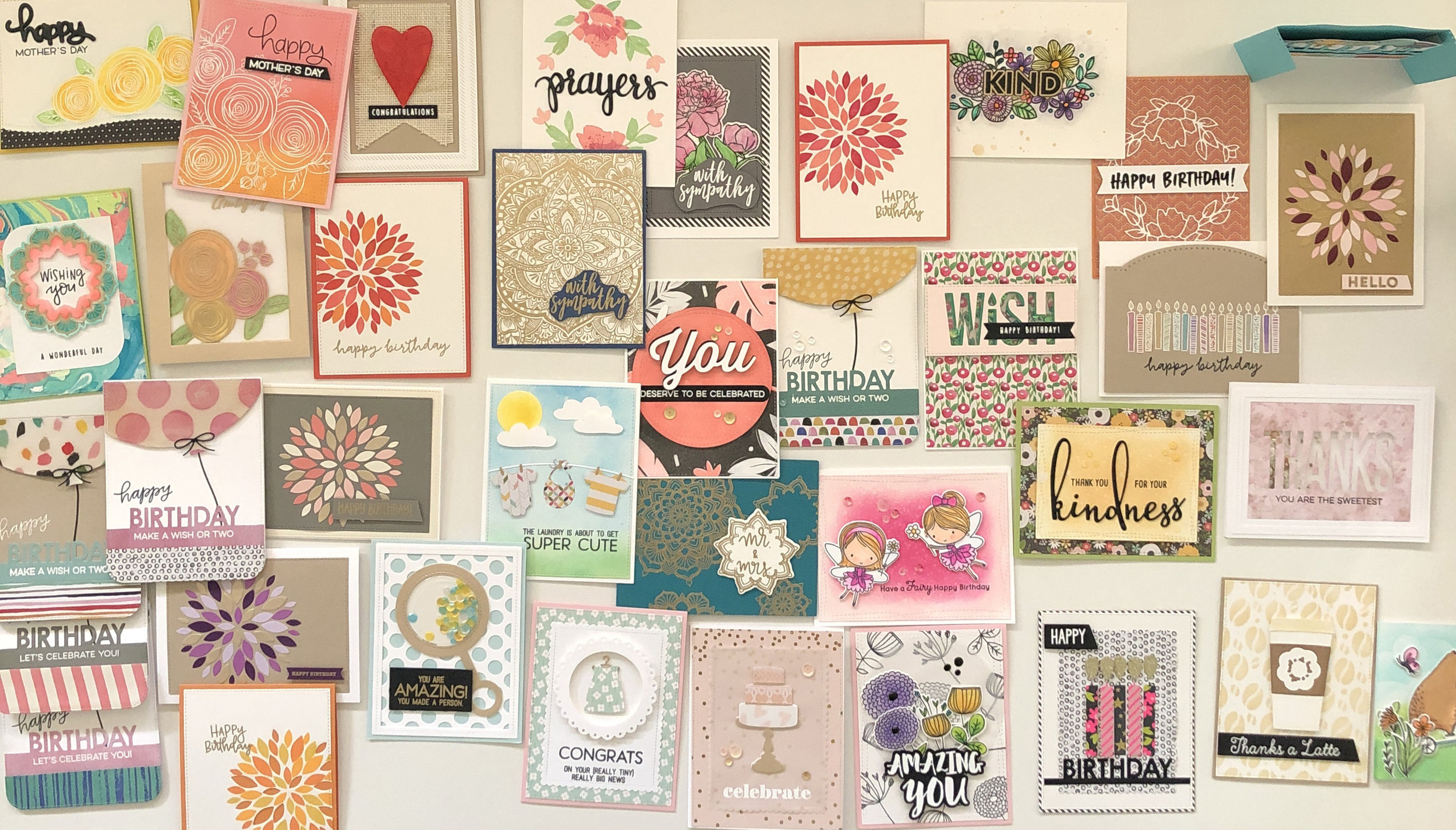 assortment of handmade greeting cards