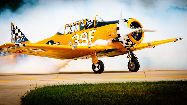 Flown by Jeff Shetterly, this North American SNJ-6 Texan was a Navy variant of the T-6 trainer aircraft.