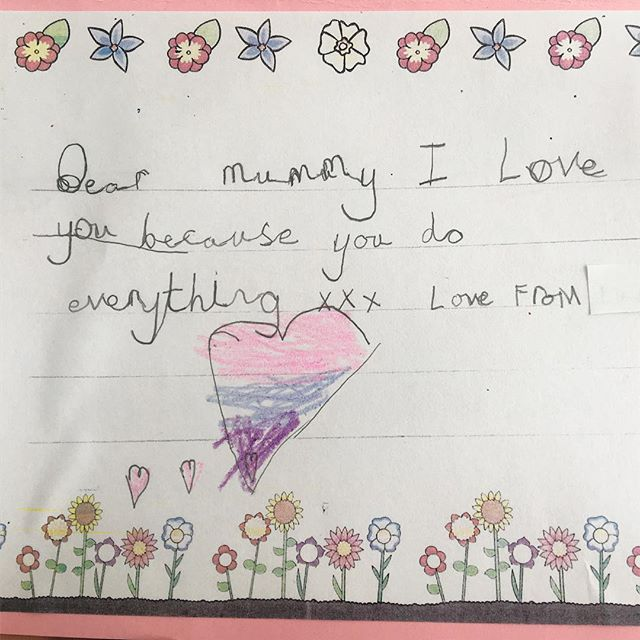 'I love you because you do everything'. Yep. 😂😂 Happy Mother Day all 💕💕💕 #mothersday #motheringsunday #motherhood #homemadecards #cardsofinstagram #love #heartmelter #thenest #thenestclub #nestbirthandbeyond