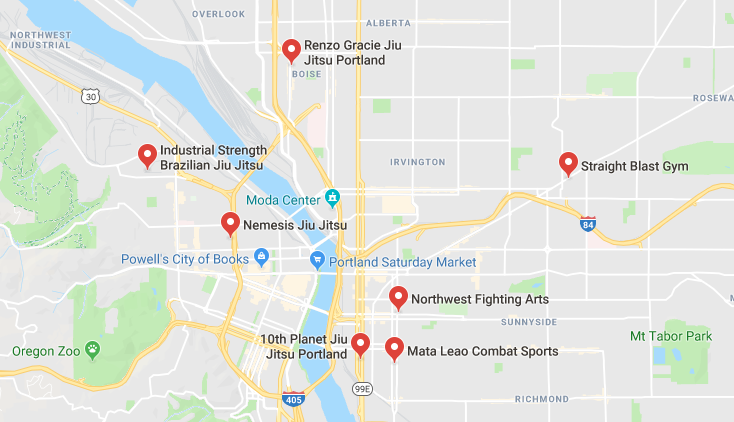 "An example of what Google Maps might look like when you search for ""bjj near me"" or when you search for ""bjj"" with your city and state."