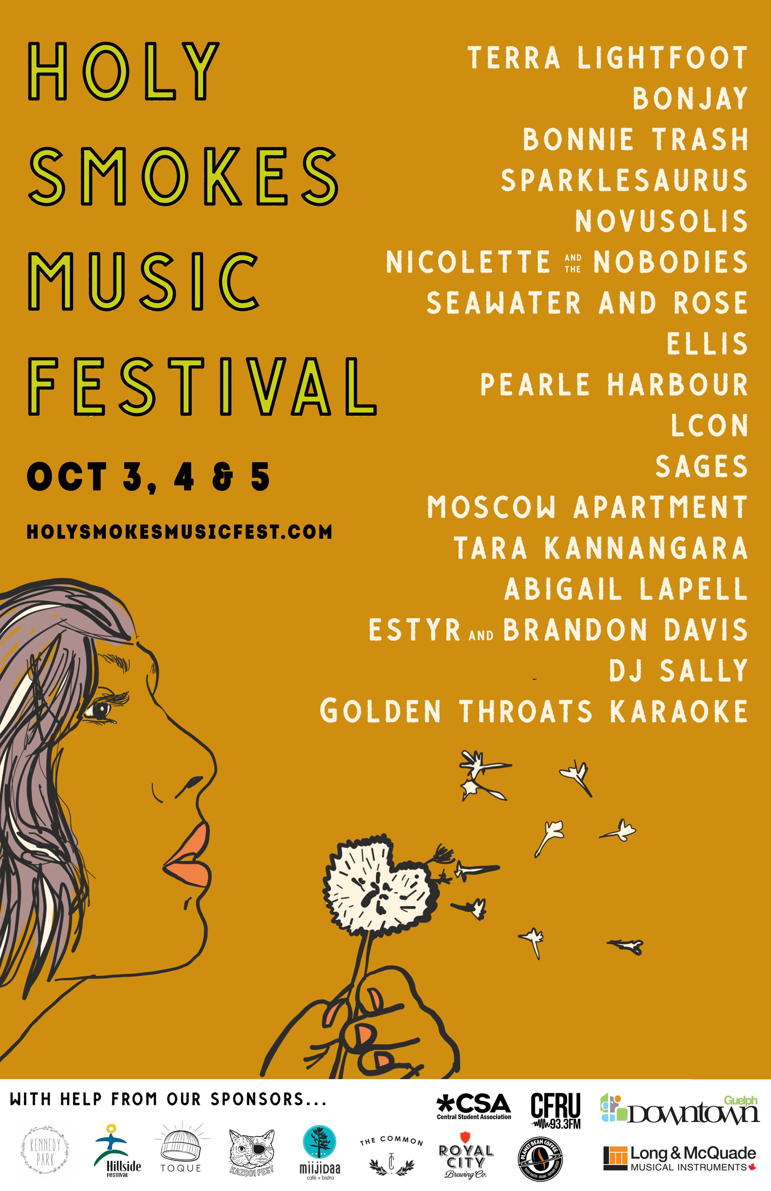 2019 line-up is here!! - Visit our schedule page for more details and links to buy tickets or a weekend pass.After an immensely successful first year, Holy Smokes is in it's second year and will be happening this October 3, 4 & 5 in Downtown Guelph. Holy Smokes has a mandate to create greater equality in the music industry by creating space for women and non-binary identifying musicians and tech people. They play the shows, they do sound, tech, book and run the venues.