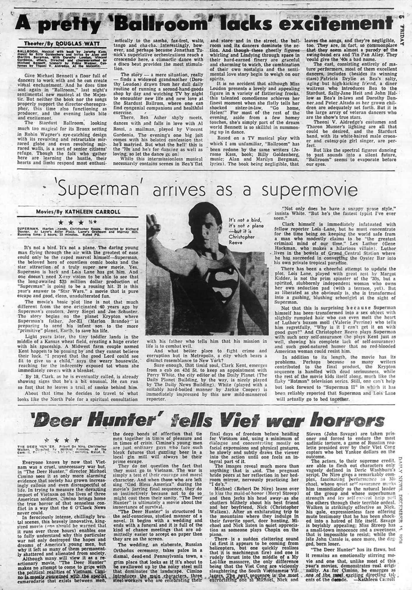 "Kathleen Carroll review of ""Superman"" & ""Deer Hunter"" for NY Daily News"