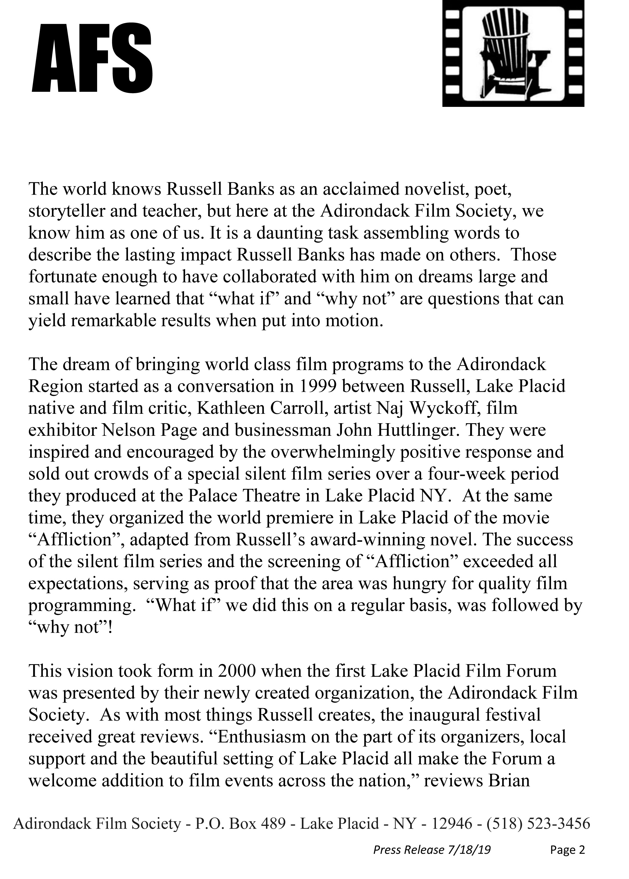 Adirondack Film Society Press Release - Russell Banks Tribute Gala 2019-2.jpg