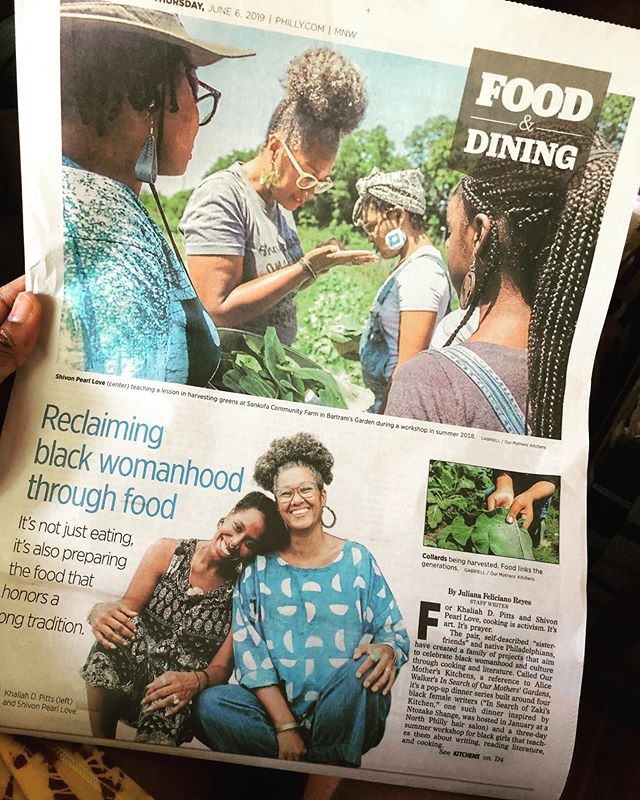 📰🙏🏾! i know y'all probably don't read the actual paper, but @sdotpearl + i are in there looking cute + reppin' @our_mothers_kitchens. the beautiful photos of our camp + dinners were taken by one of my favorite ppl @allwolfnosheep. and @adachiphoto is responsible for the gorgeous headshot. thank you @j_f_reyes! #goodnews #ourmotherskitchens