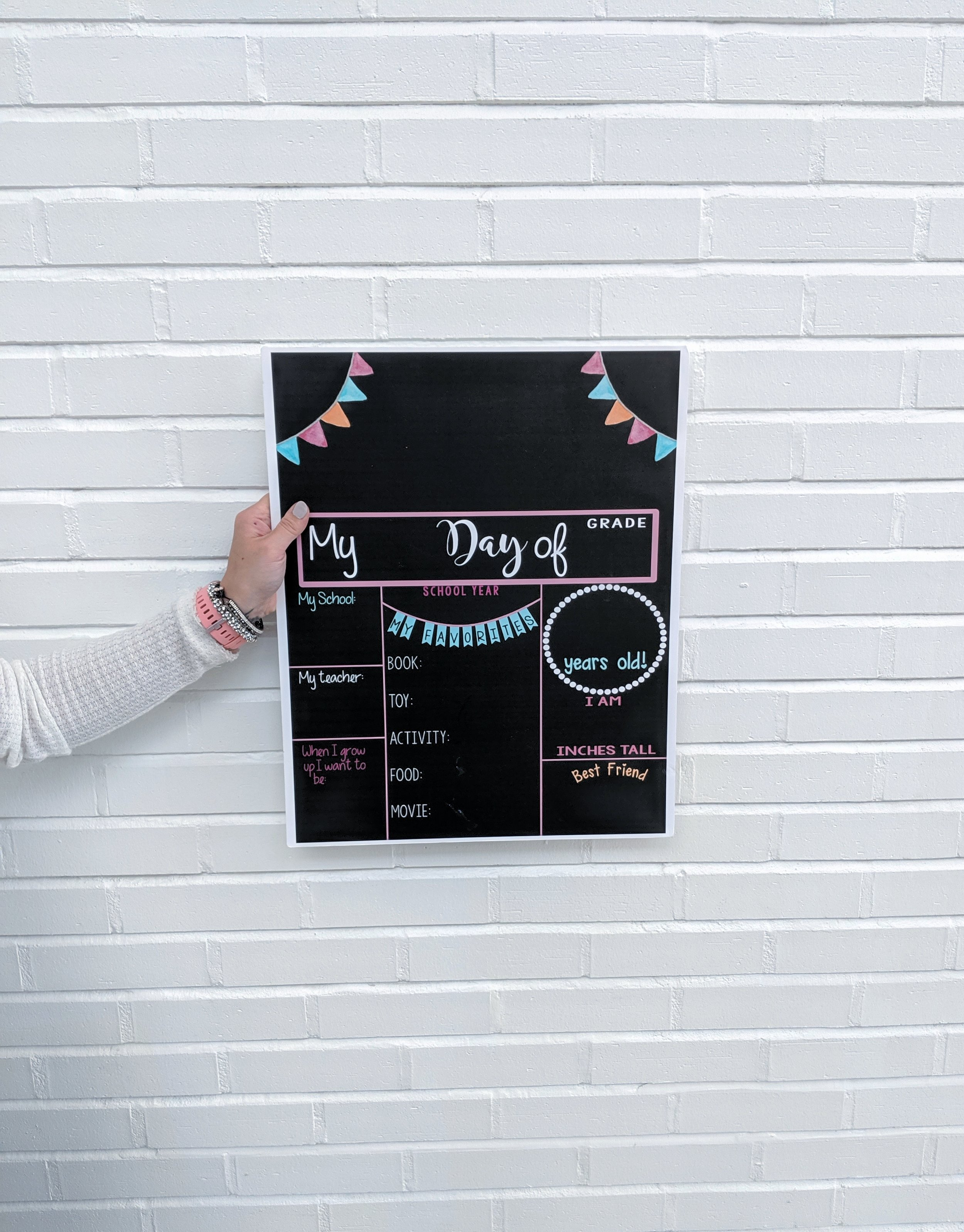 Black Neutral First Day of School Sign Back to School  Board Erasable /& Reusable White