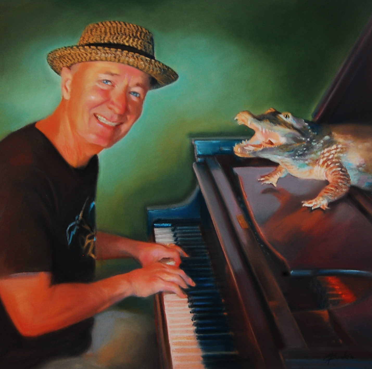 """""""Phil Dutton and an Alligator"""", pastel by E. Baskin, part of """"Passion"""" series, 2017, 18""""x24"""" (sold)"""
