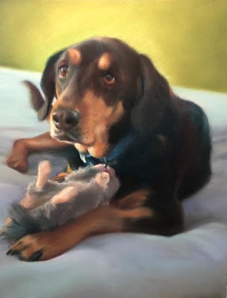 """Jake,"" pastel by E. Baskin, 11""x14"", commission (sold)"