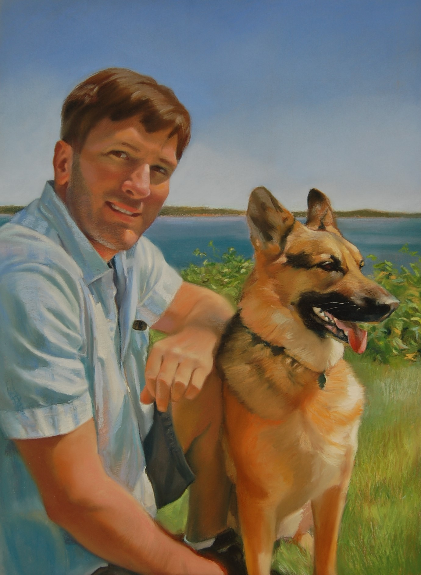 """""""Tony and Maya,"""" pastel by E. Baskin, 18""""x24, """"For the Love of Dogs"""" series, (sold)"""