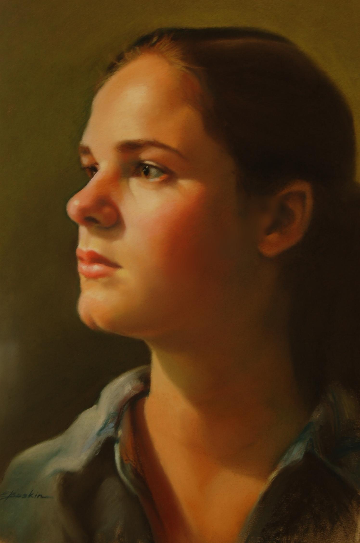 """Determination,"" pastel by E. Baskin $1,600"