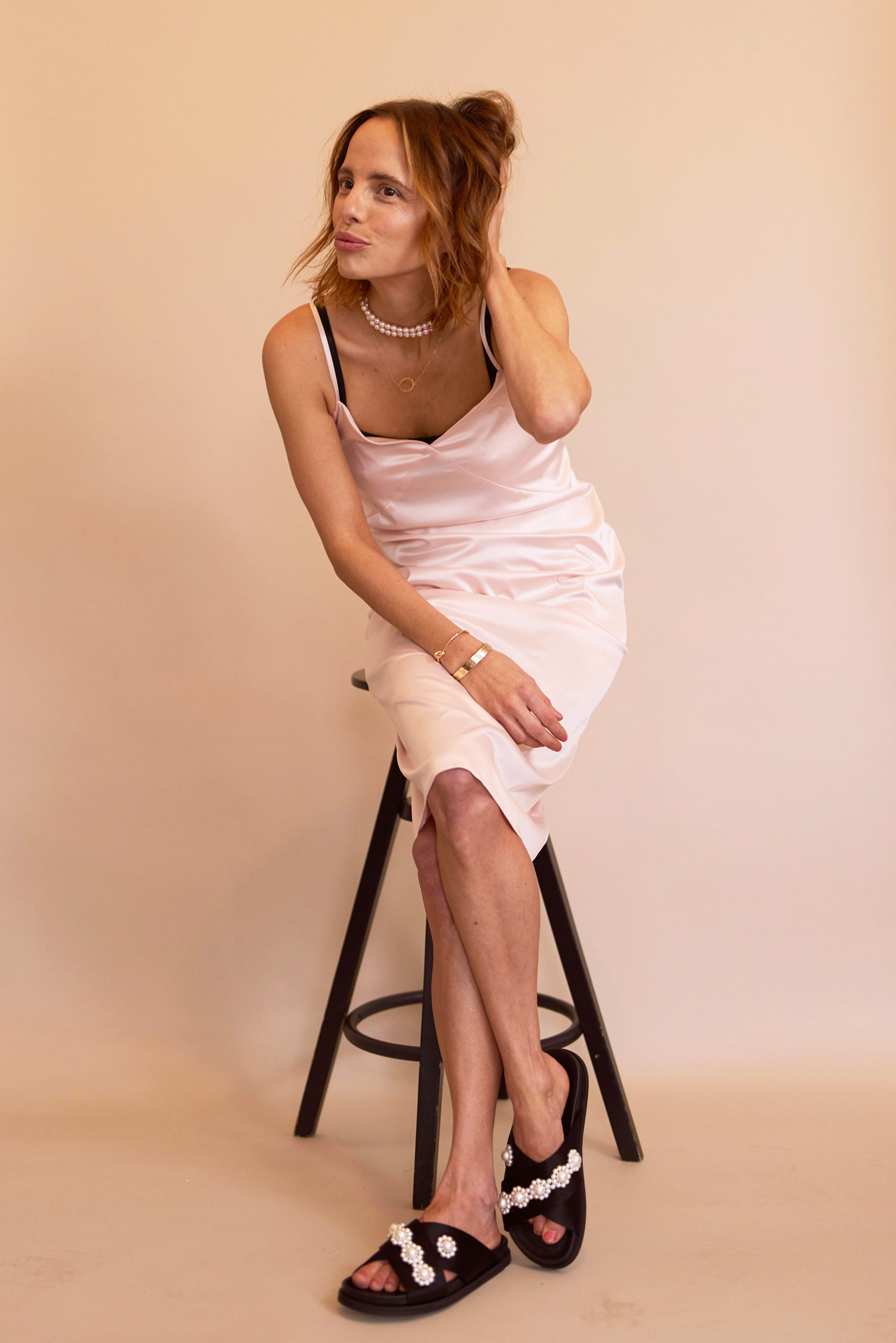 Rosa Macher Slip Dress Peach