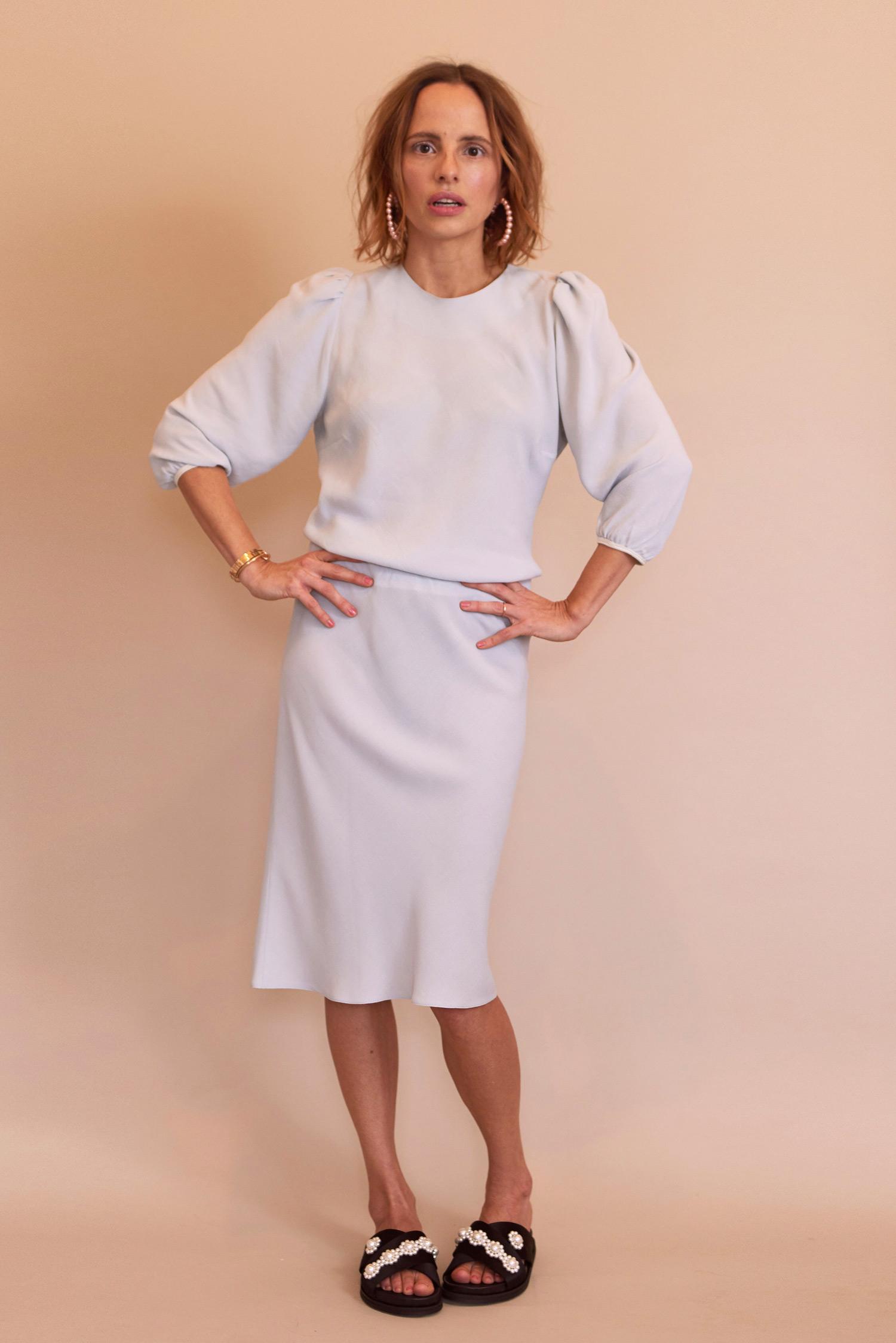 Rosa Macher Bias Top 001 and Bias Skirt 001 in Mist