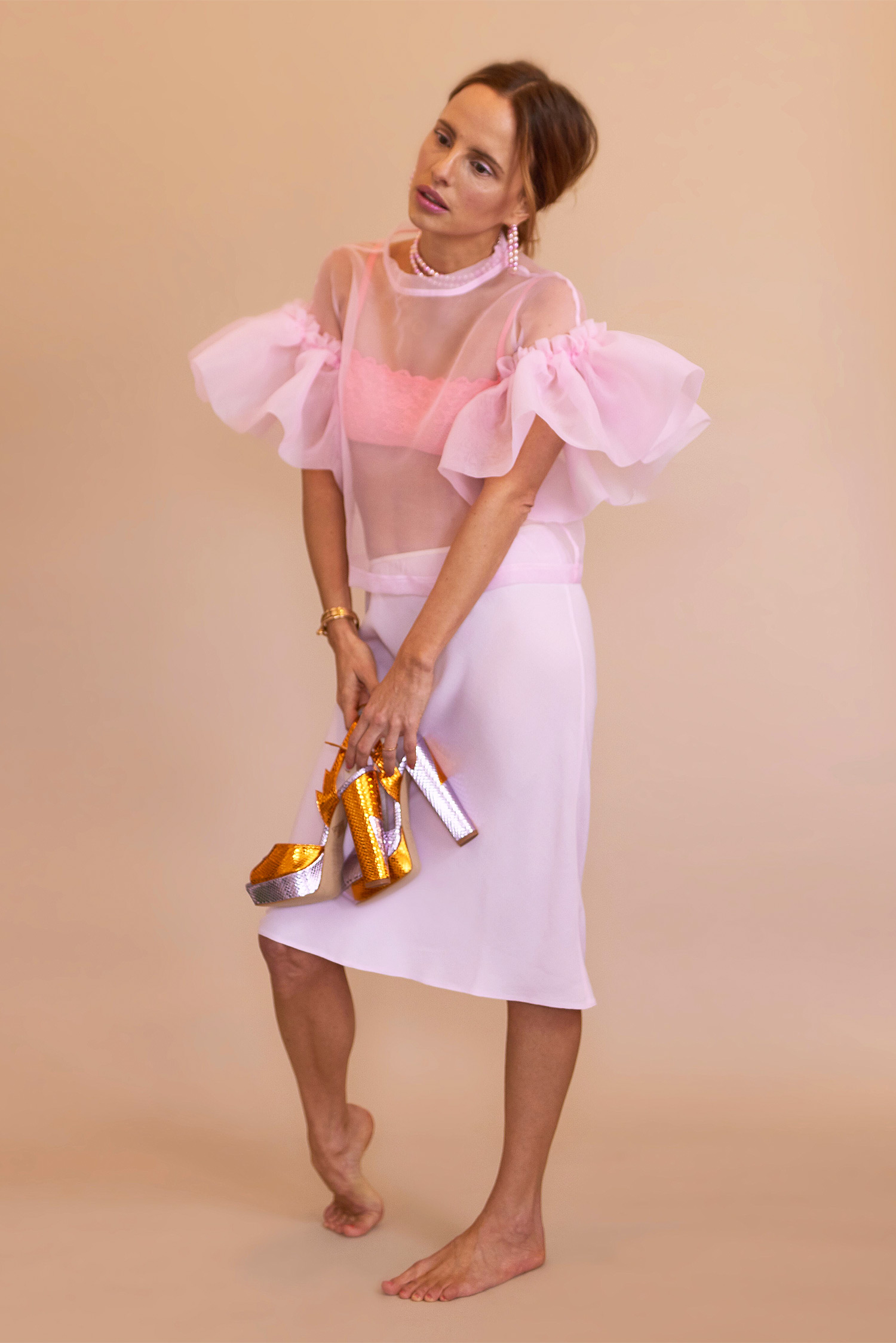 Rosa Macher Organza Top in Rose Bonbon and Bias Skirt in Candy Pink