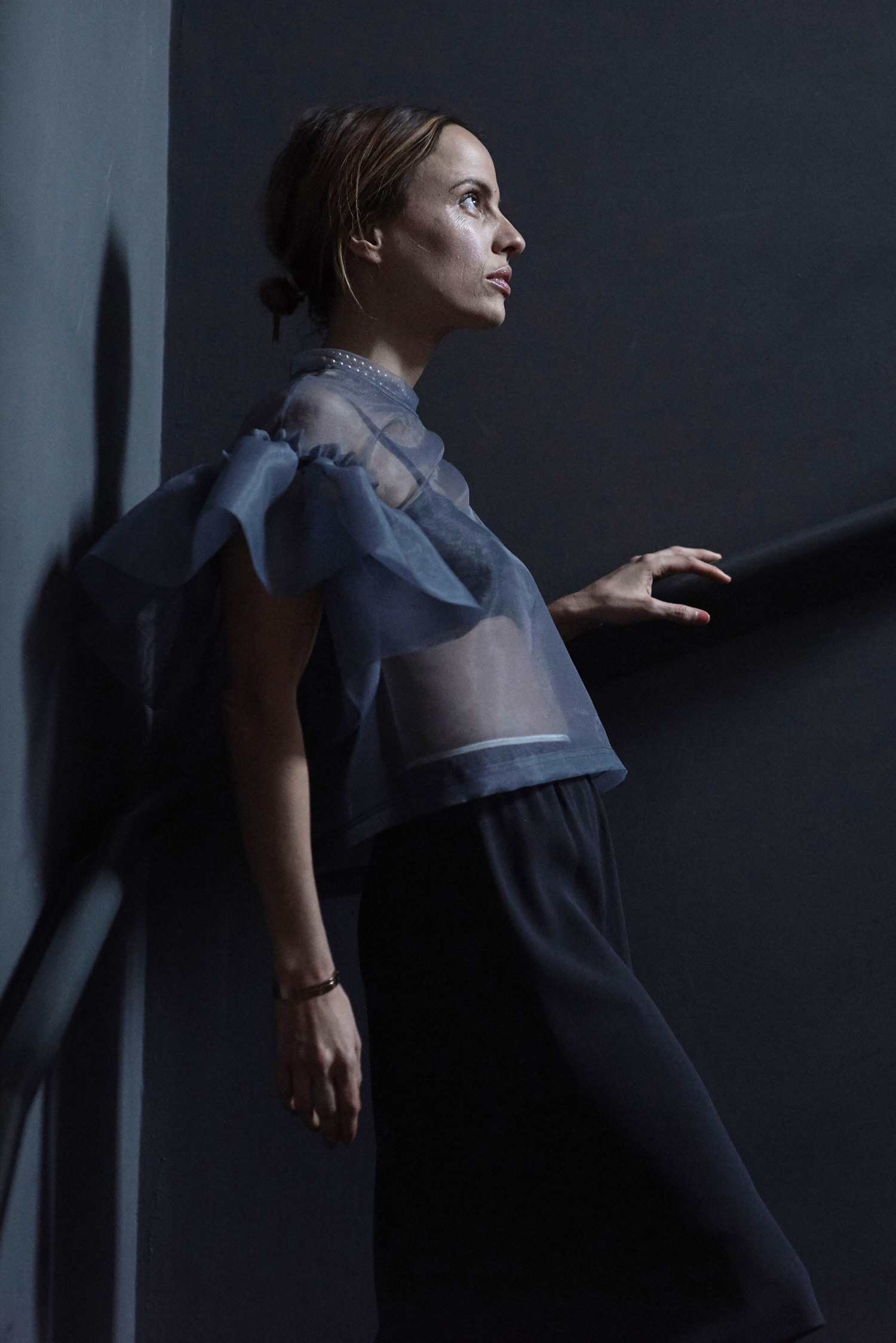 Rosa Macher Organza Top in Gris Foncé and skirt 001 in Charcoal