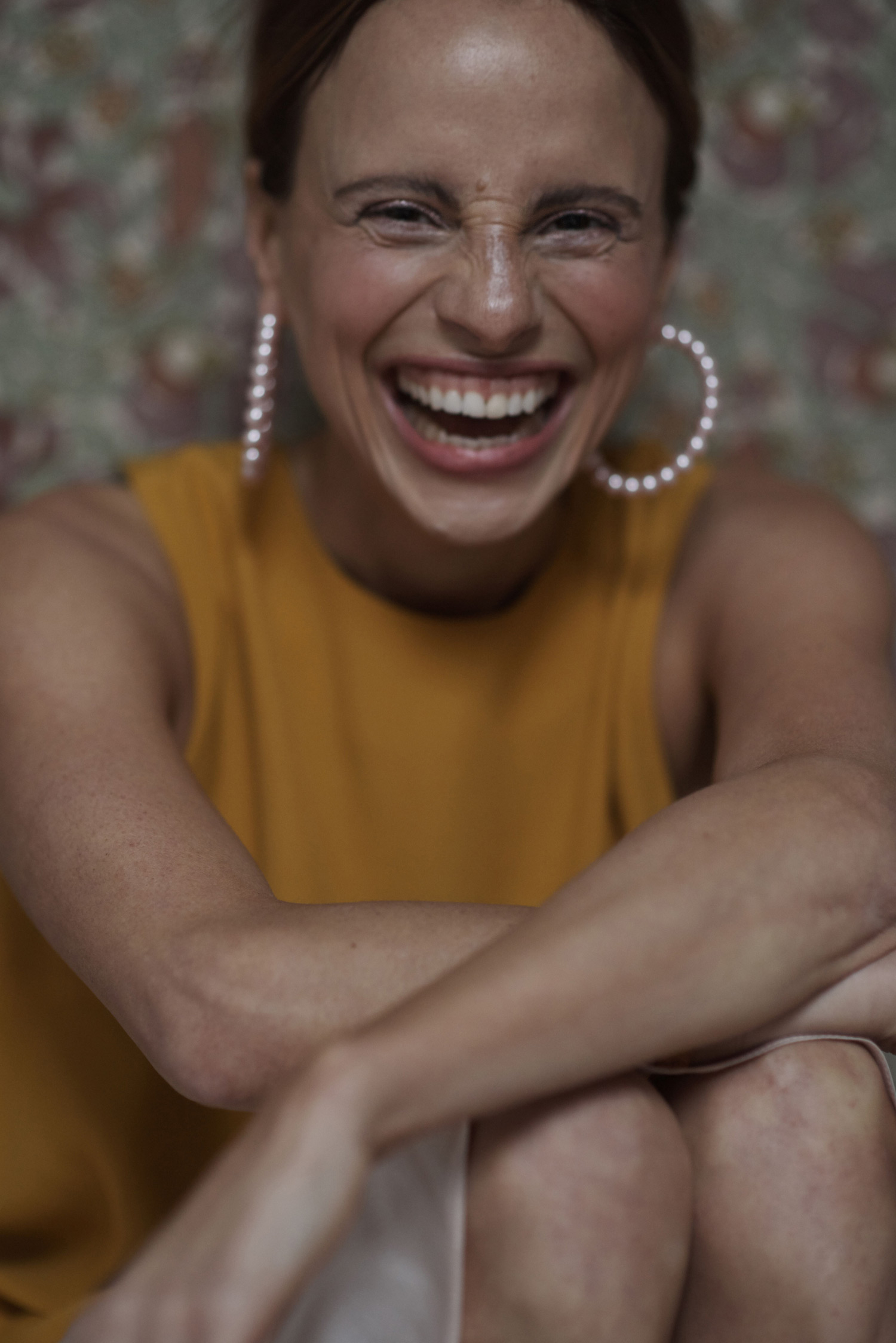 Rosa Macher Sleeveless Top 001 in Mustard and Slip Skirt 001 in Pearl