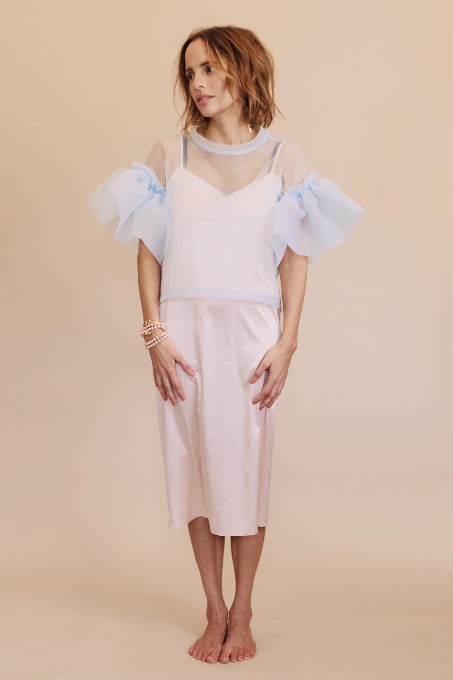 Rosa Macher Slip Dress 001 in Peach and Organza Top in Ciel