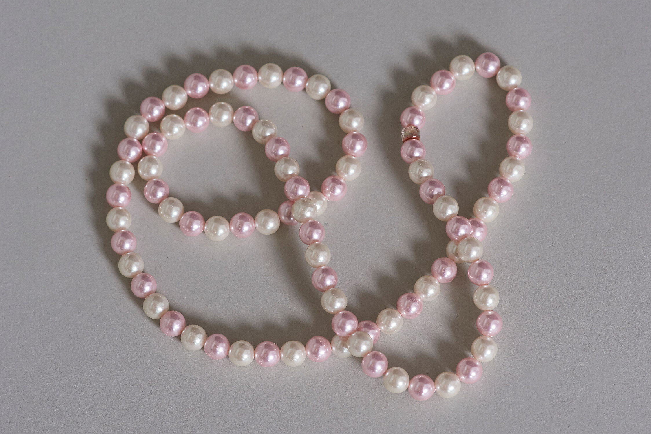 Rosa Macher Pearl Necklace Baby Pink and Ivory