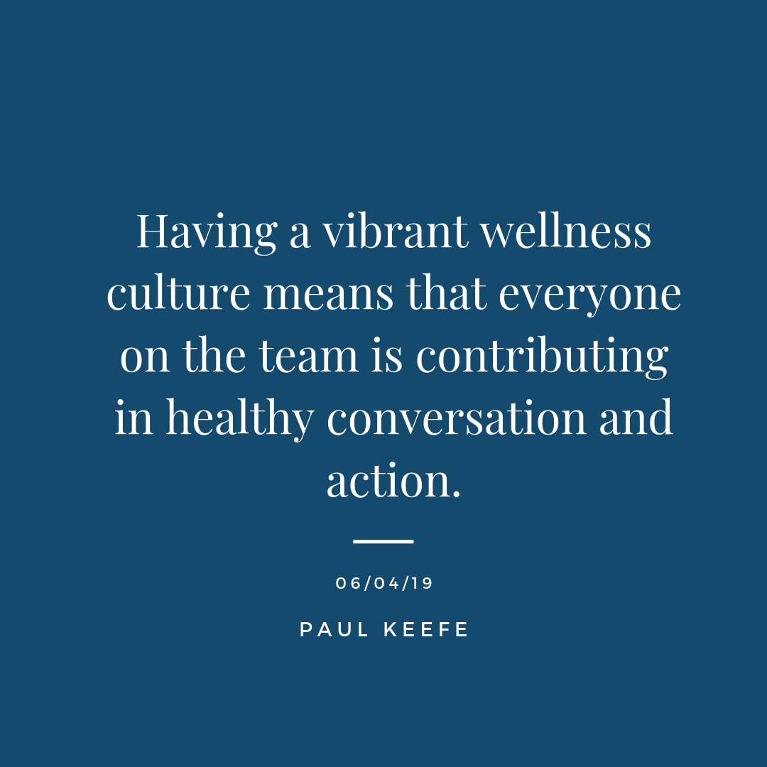 """- Having a vibrant wellness culture means that everyone on the team is contributing in healthy conversation and action.You are the sum of the five people you surround yourself with the most. Keep in mind you are also in someone else's core five.This means that you are influencing someone(s) around you in some way - consciously or unconsciously - whether you like it or not.A meaningful gift you can give away everyday to yourself or someone else is a healthy idea, thought, or action. Even if it's just one thing, that's still better than NOthing. It doesn't have to be some big profound gesture. """"The meaning of life is to find your gift. The purpose of life is to give it away."""" - David Viscott"""