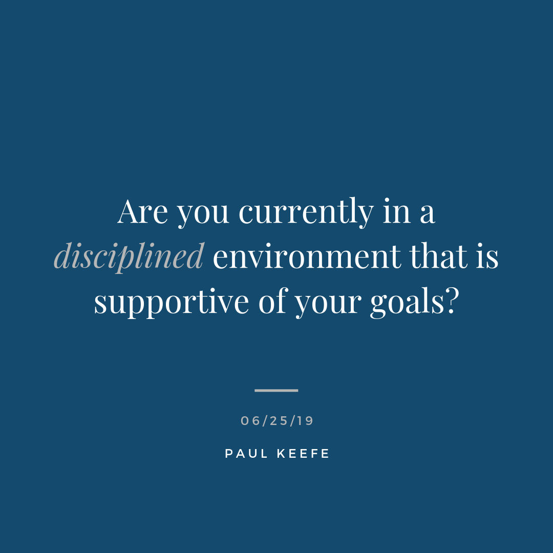 """- Are you currently in a disciplined environment that is supportive of your goals?It took me a long time to come up with a post for today. I just sat staring at a blank screen waiting for the inspiration to hit me, and the words to pour out. It didn't happen. So I waited. Then I did some other work. Came back and wrote a couple words. Then I deleted them. Around I went.Still nothing.I finally decided to take a breath. I looked up from my computer and noticed a few things:- An open notebook I was jotting notes in. - A book I randomly continued to flip open to read.- My cell phone I would pick up sporadically to check messages.- Close to ten open windows on my laptop. Email constantly pulling me in. I put myself into an environment that stole my energy, and that I could easily get distracted in. It's funny to me because I never work like this, but sometimes I can unconsciously put myself in that position.Step back. Take a breath. Remove the clutter. Sometimes it's not this easy to achieve productivity. But sometimes it is. Don't let a cluttered workspace and cluttered mind be your crutch - because you can control these things.""""Start thinking about your environment being full of relationships, not objects. You interact with your environment. You don't use it."""" - James Clear"""