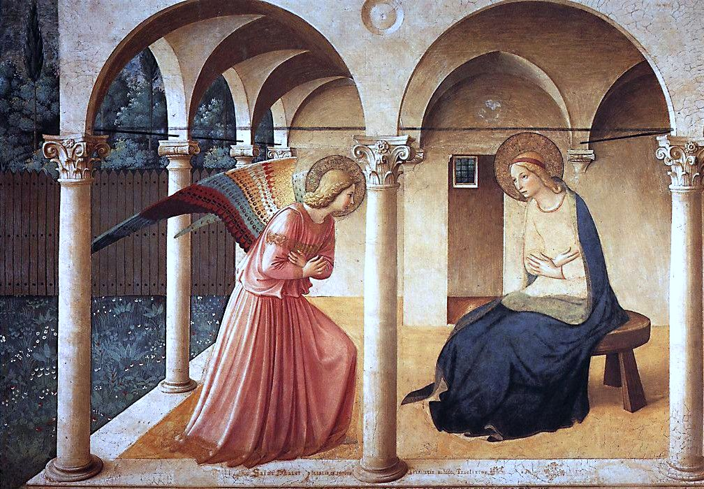 The Annunciation by Fra Angelico.  Convent of San Marco, Florence, Italy.  It's even more amazing in person.