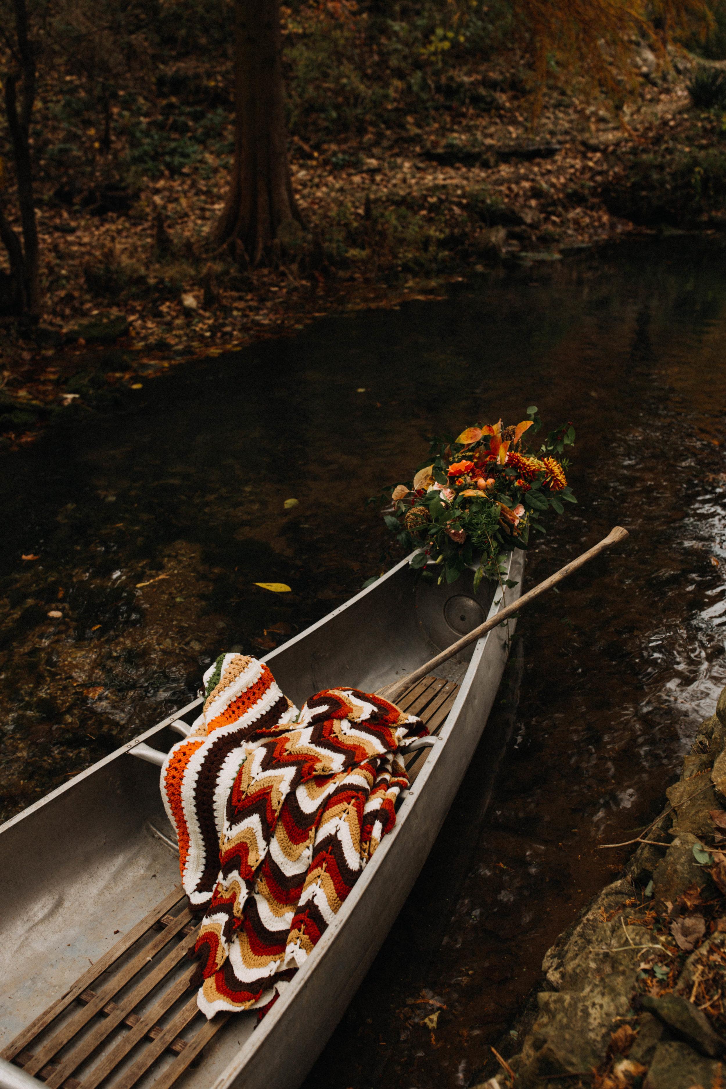 wedding getaway canoe