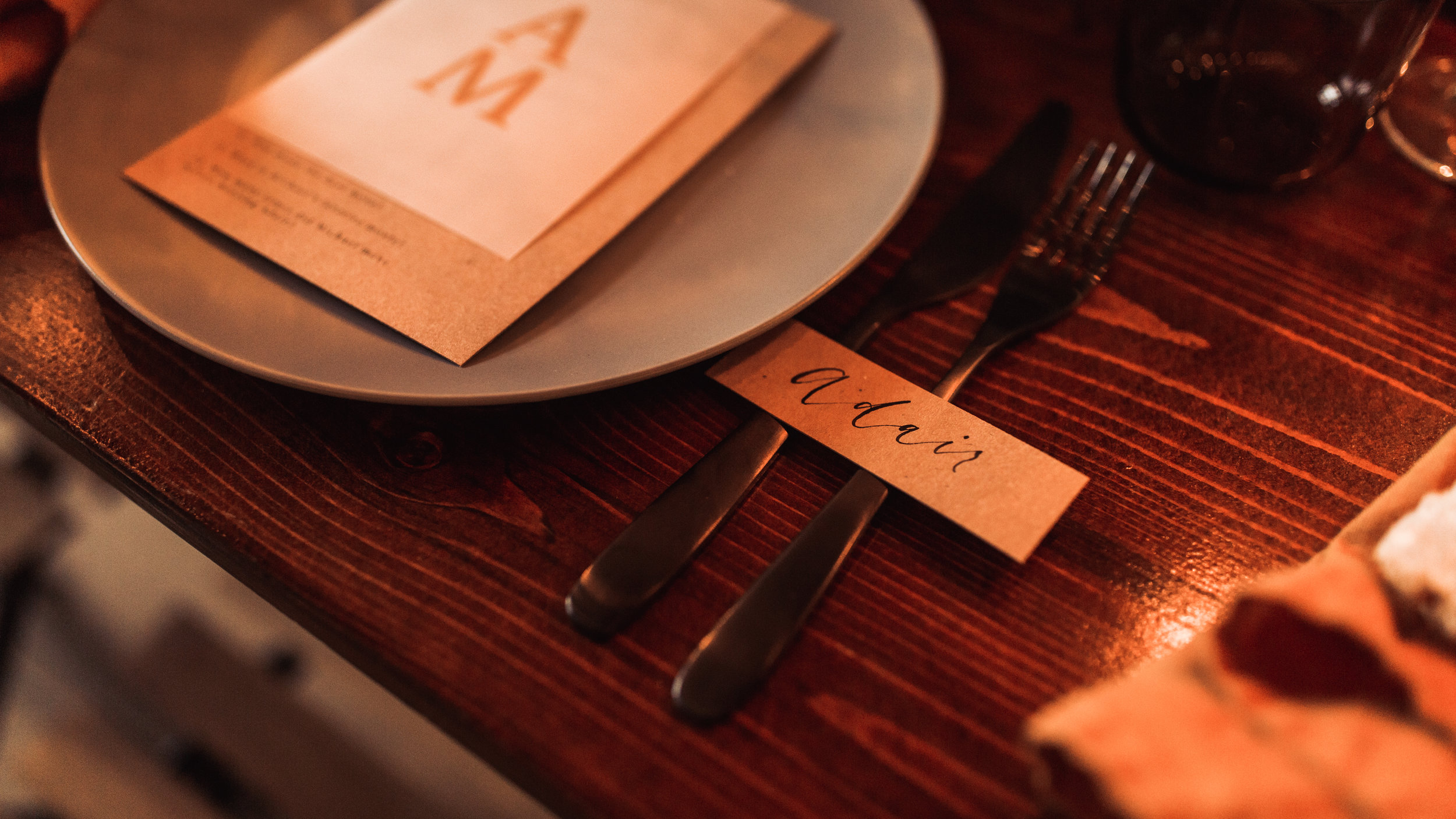 black flatware tablescape wedding