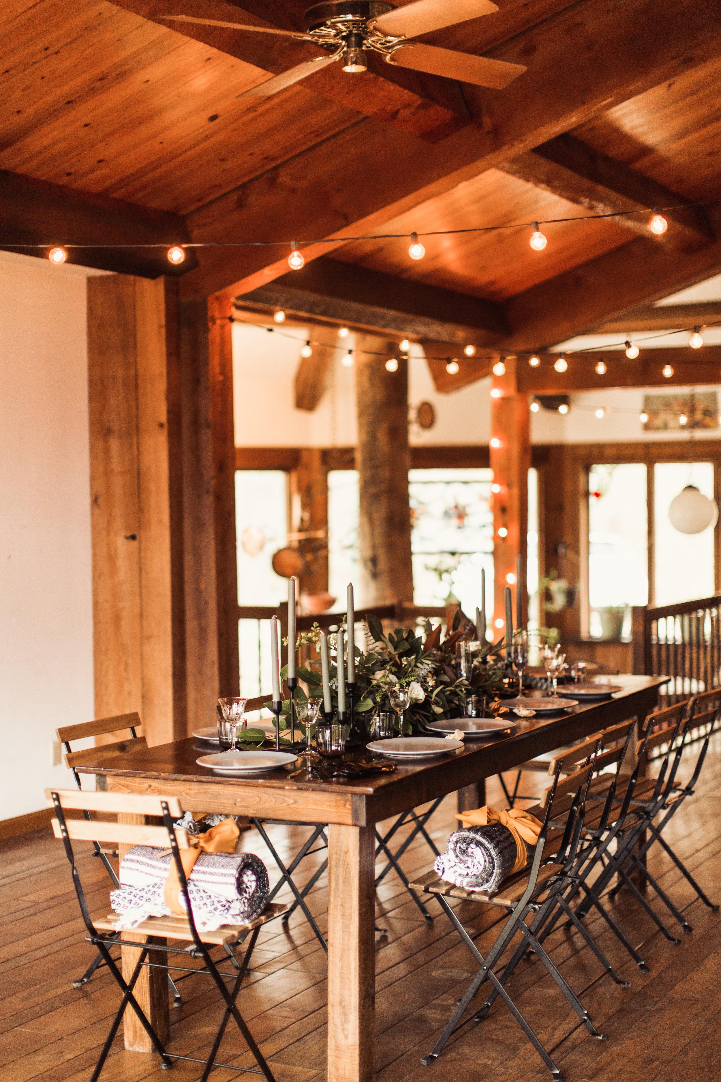 indoor cabin reception fall elopement