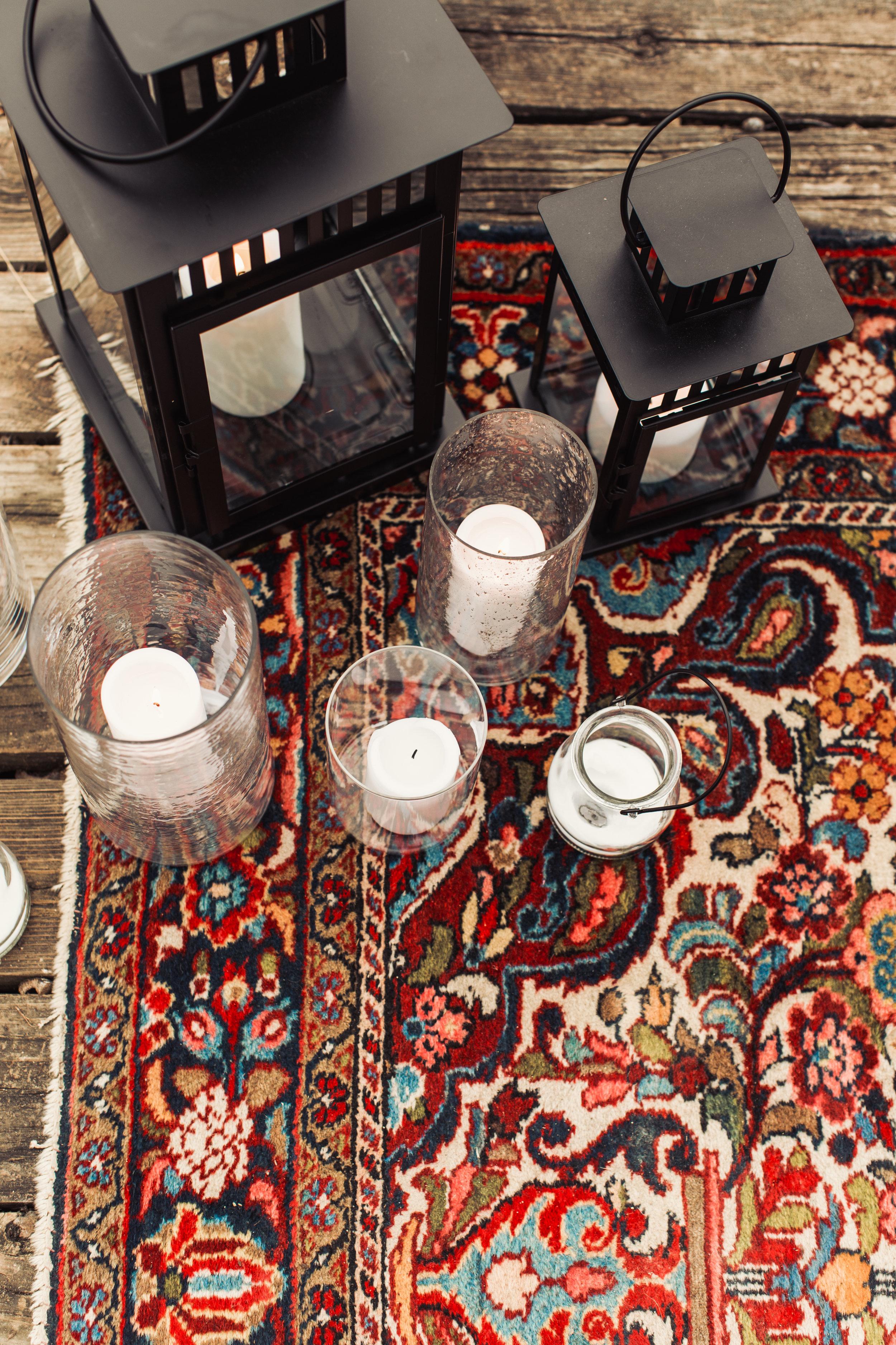 lanterns vintage rug elopement