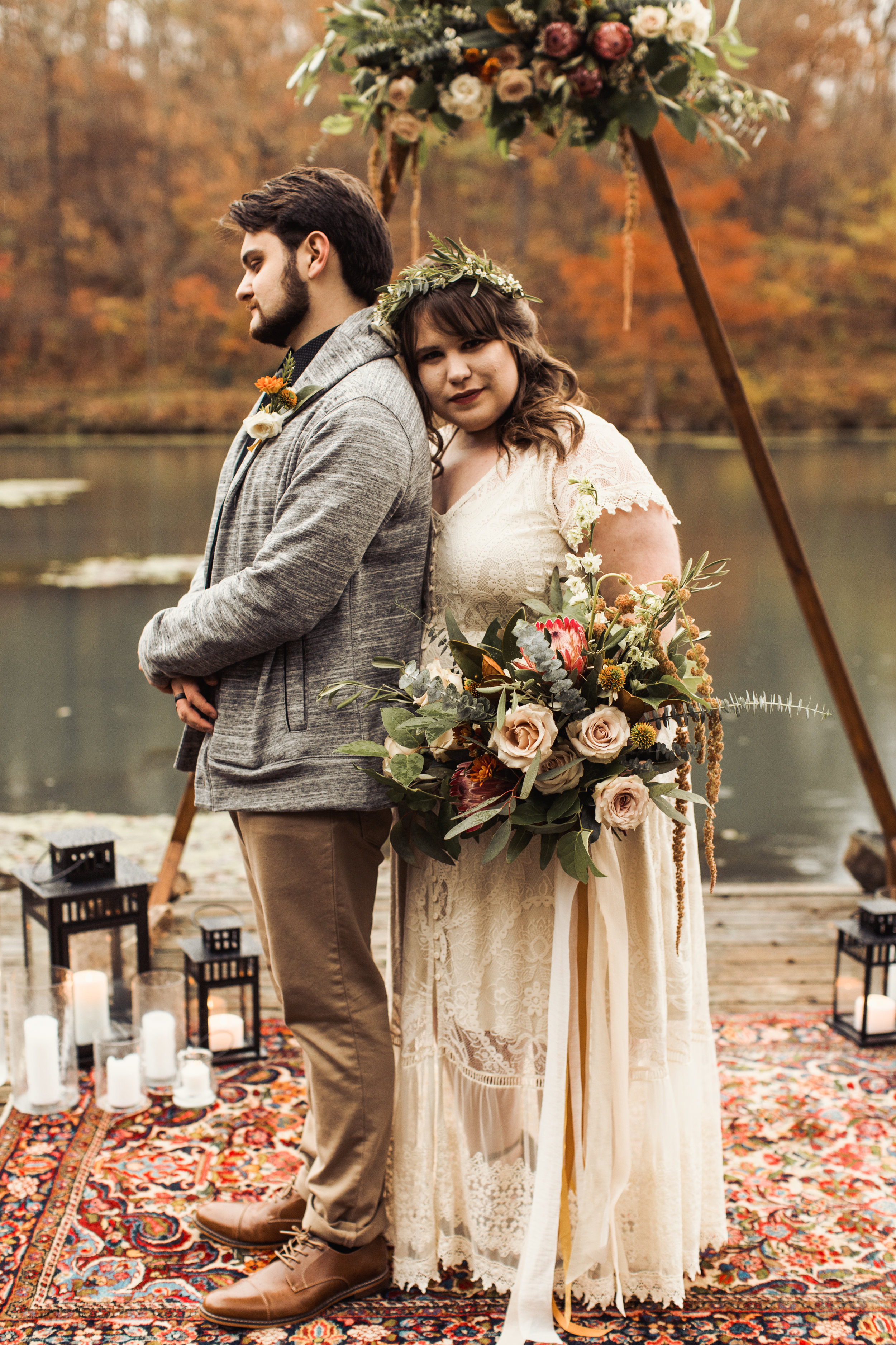 triangle arch wedding elopement moody