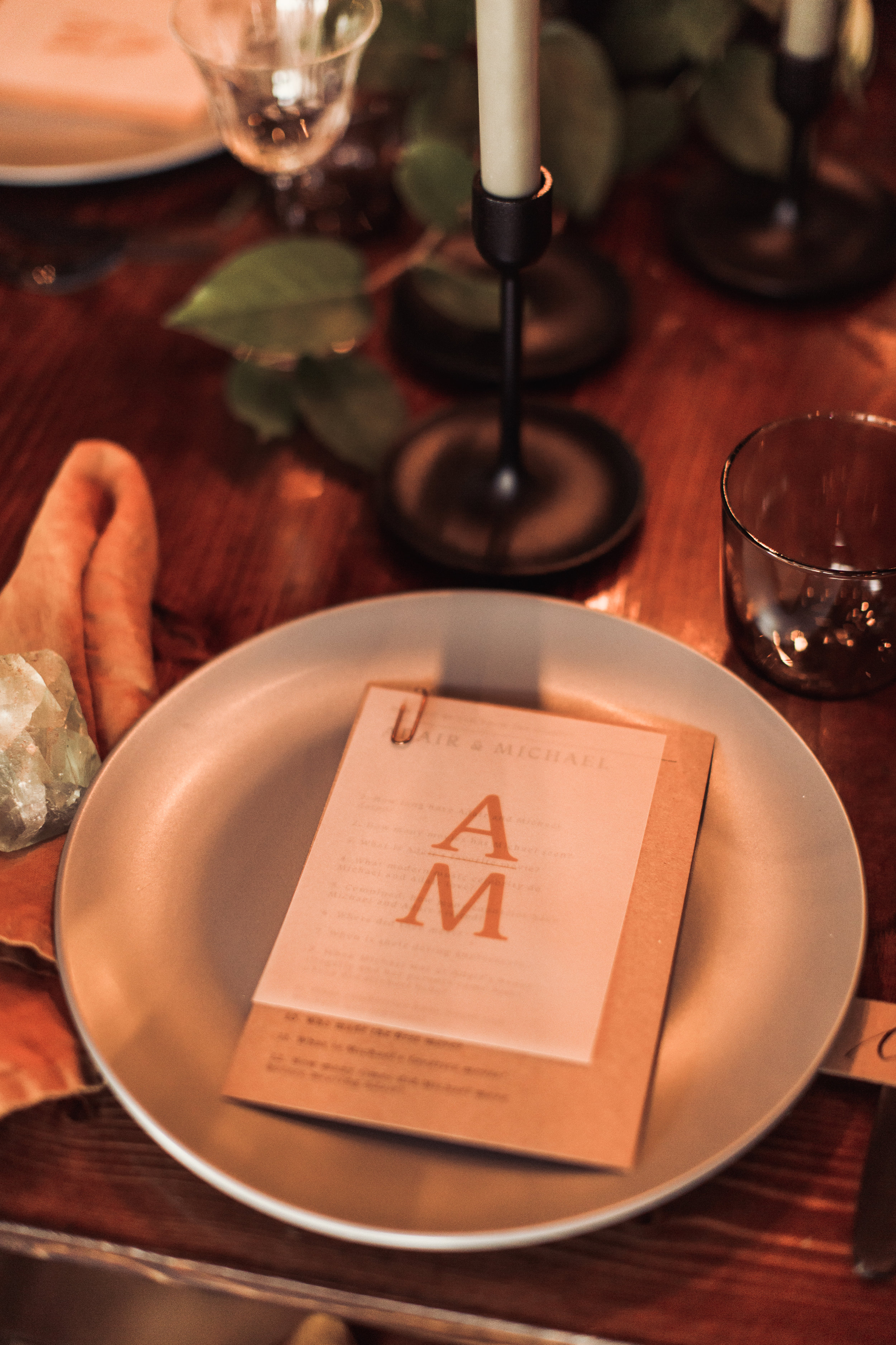 menu wedding table