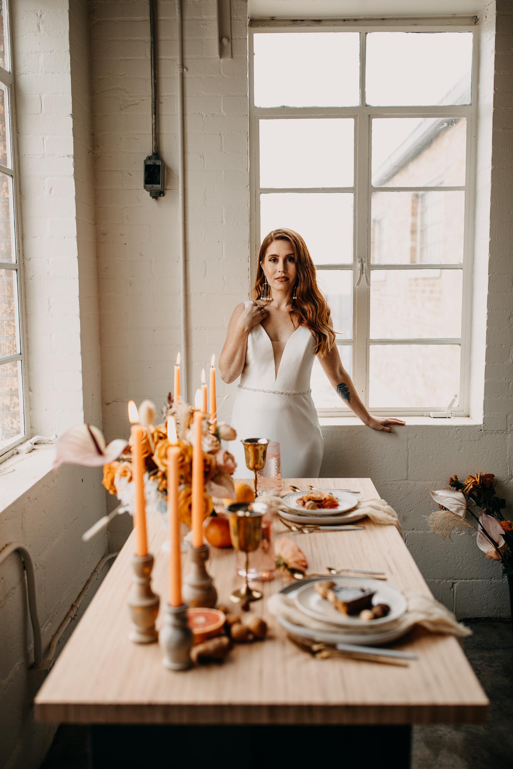 loft wedding. loft elopement. intimate table. intimate tablescape. modern tablescape. light airy table. elopement table