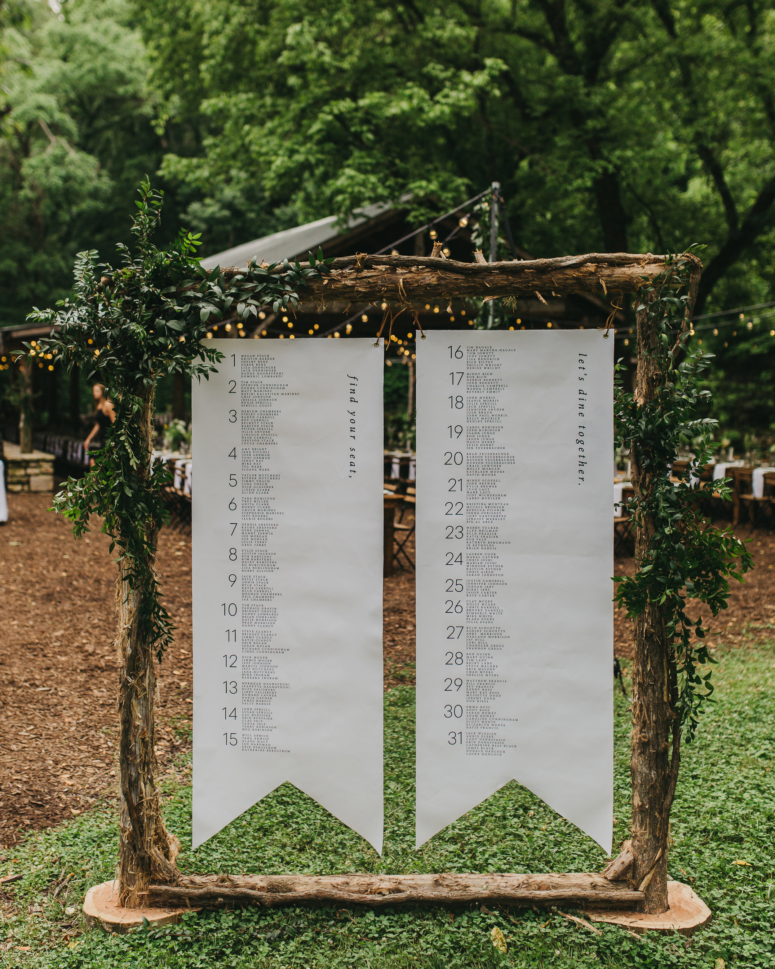 large, modern hanging canvas flag seating chart