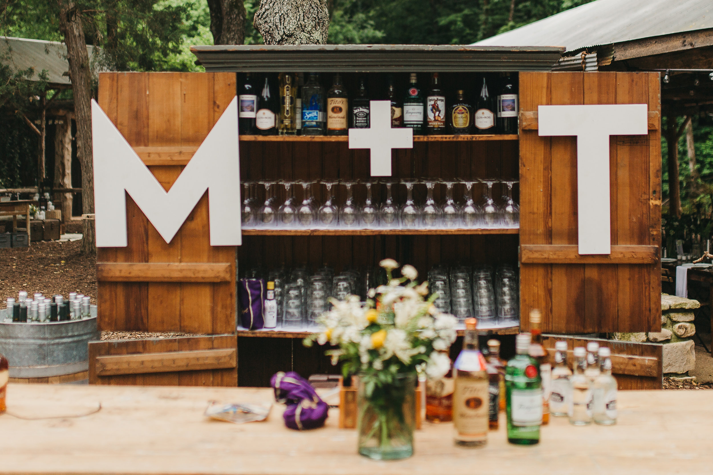 wedding full service bar with hanging letters