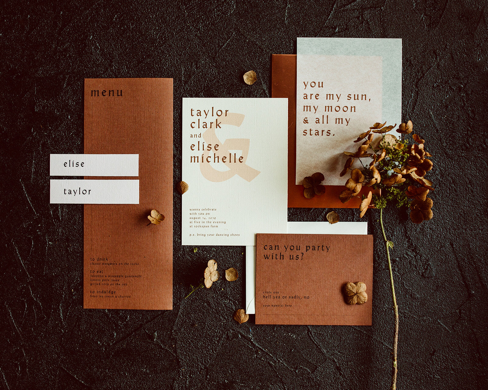 modern rust, copper and blush invitation suite with blackletter font