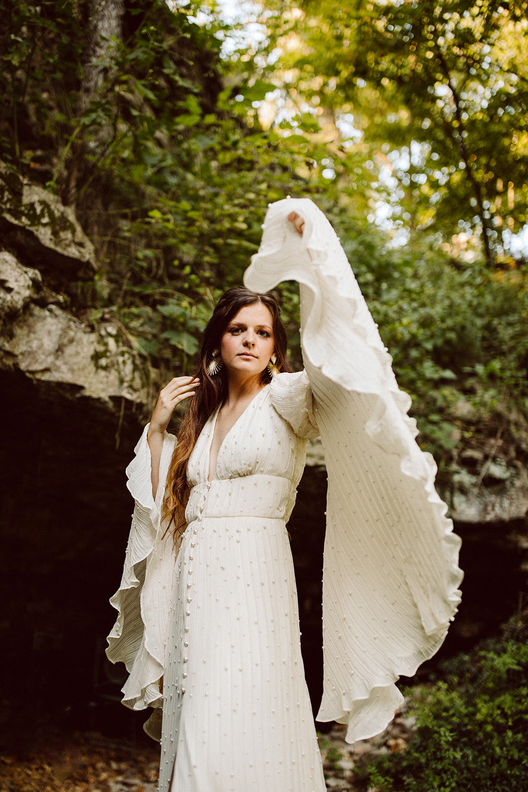boho wedding dress with long bell sleeves
