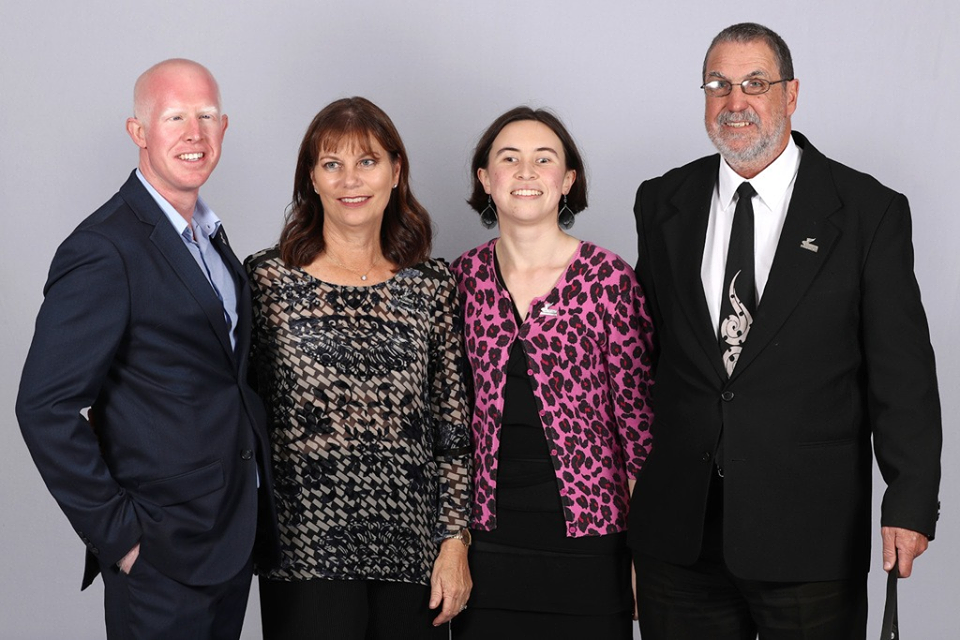 Daniel Holt (Paralympian #178), Viv Gapes (Paralympian #45), Aine Kelly-Costello (Paralympian #180) & Chris Orr (Paralympian #46) at the first of 12 Paralympics New Zealand Celebration Project ceremonies to be held throughout New Zealand. Photo credit: Getty Images