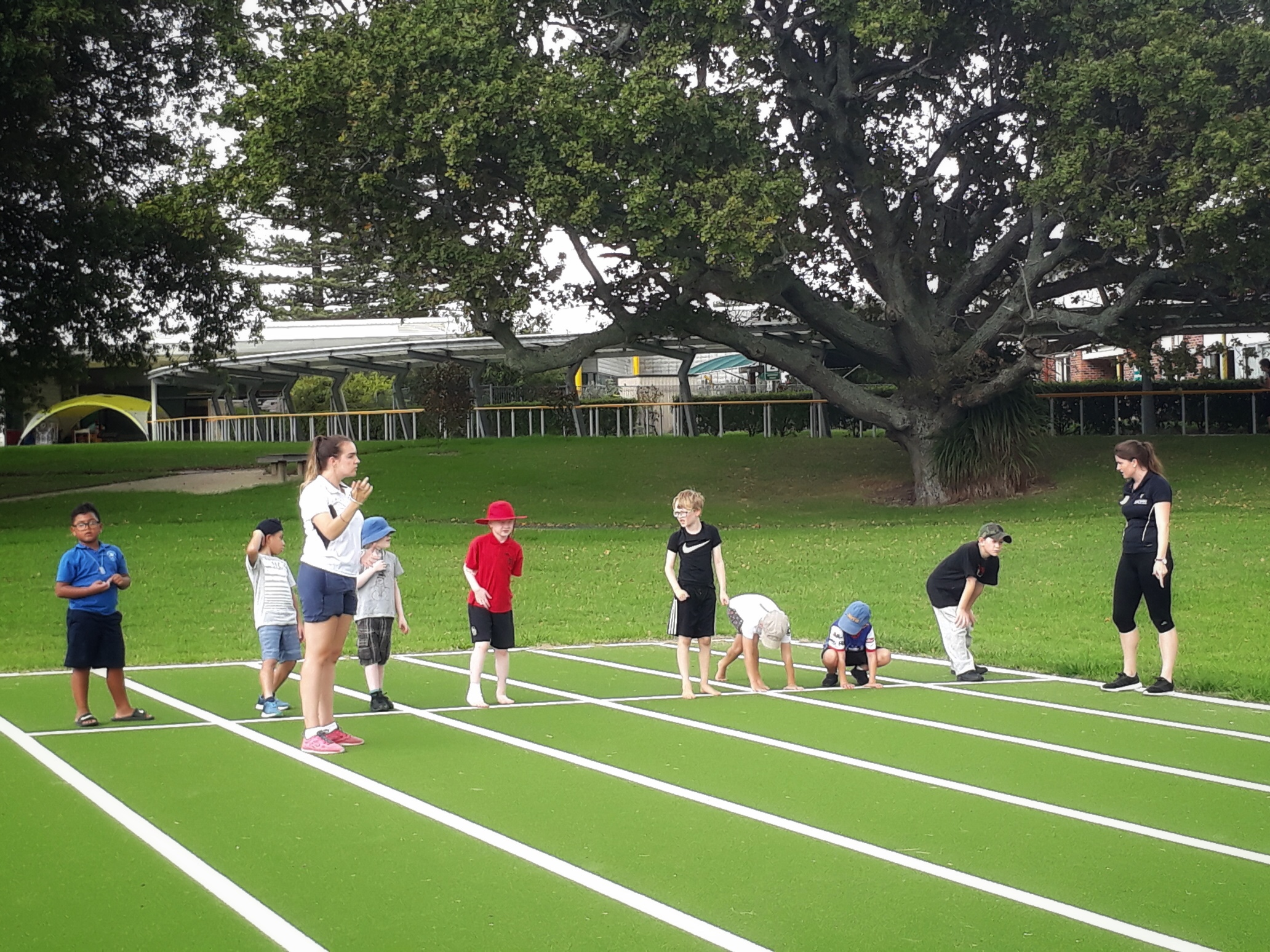 Kids lining up and getting ready to race at a sports morning held at the BLENNZ Homai Campus
