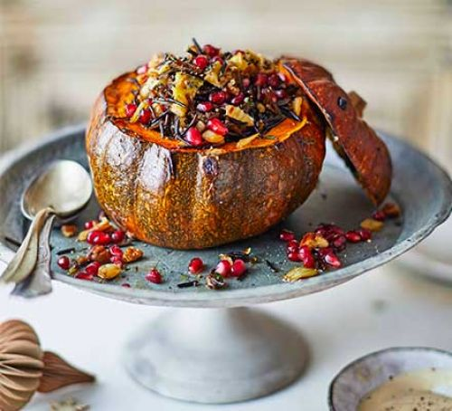 Pumpkin filled with seasonal vegetables - you'll find it on the table at our Samhain Feast