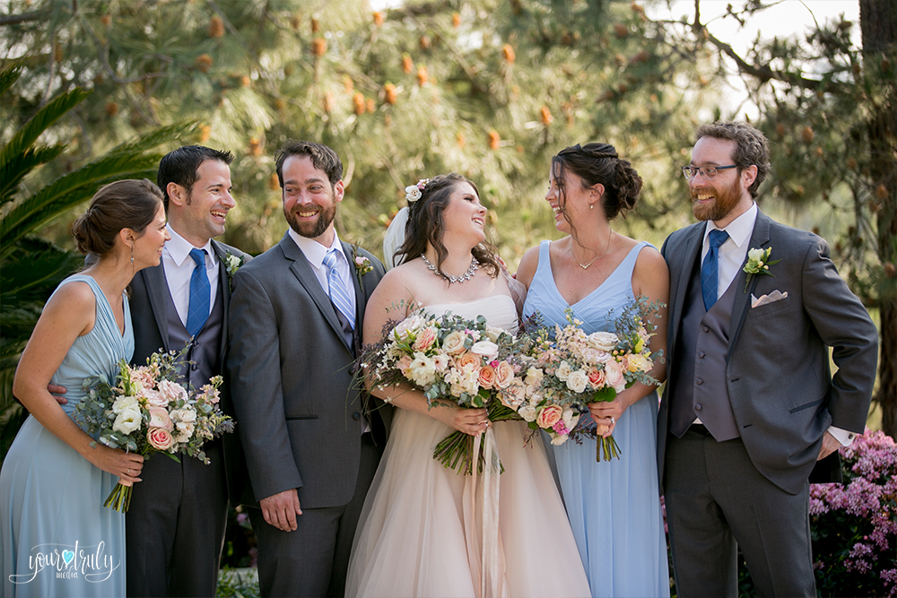 Wedding Photography Packages - San Diego, CA - Japanese Friendship Garden - The bridal party laughing and enjoying the wedding day.