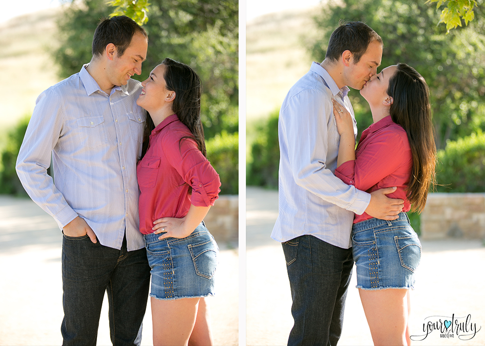 Engagement Photography Services, Orange County, CA - Engaged couple kissing.