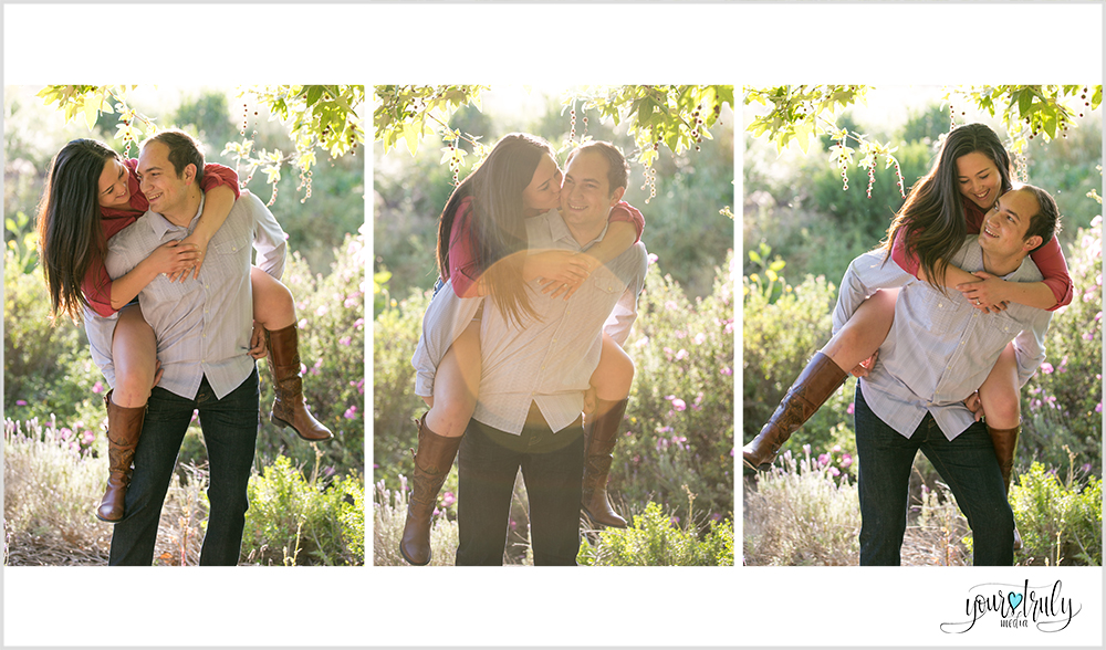 Engagement Photography Services, Orange County, CA - Future bride riding on future grooms back.