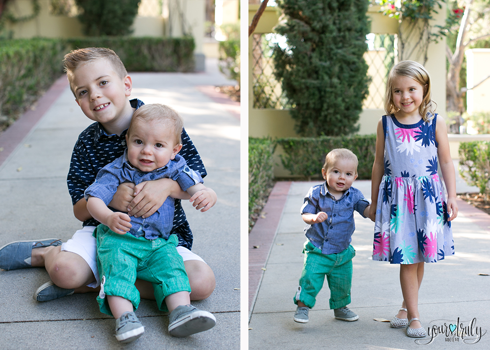 Family photography session - Orange County, CA - Brother and sister posing with the youngest baby sibling.