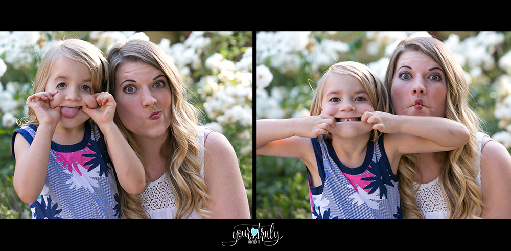 Family photography session - Orange County, CA - Mother and daughter making silly faces.