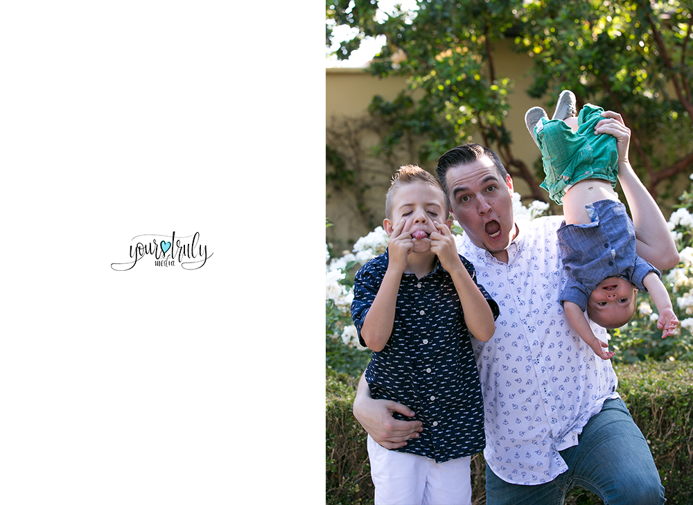 Family photography session - Orange County, CA - Father making silly faces with his sons.
