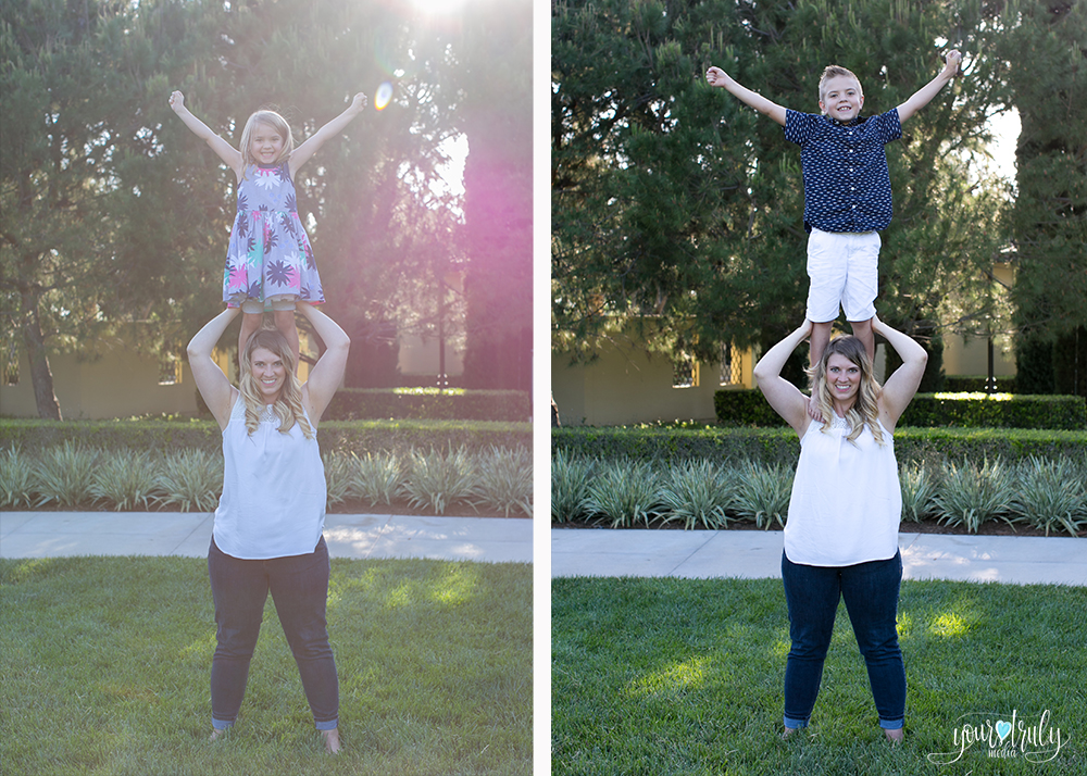 Family photography session - Orange County, CA - Mother with her son and daughter standing on her shoulders.