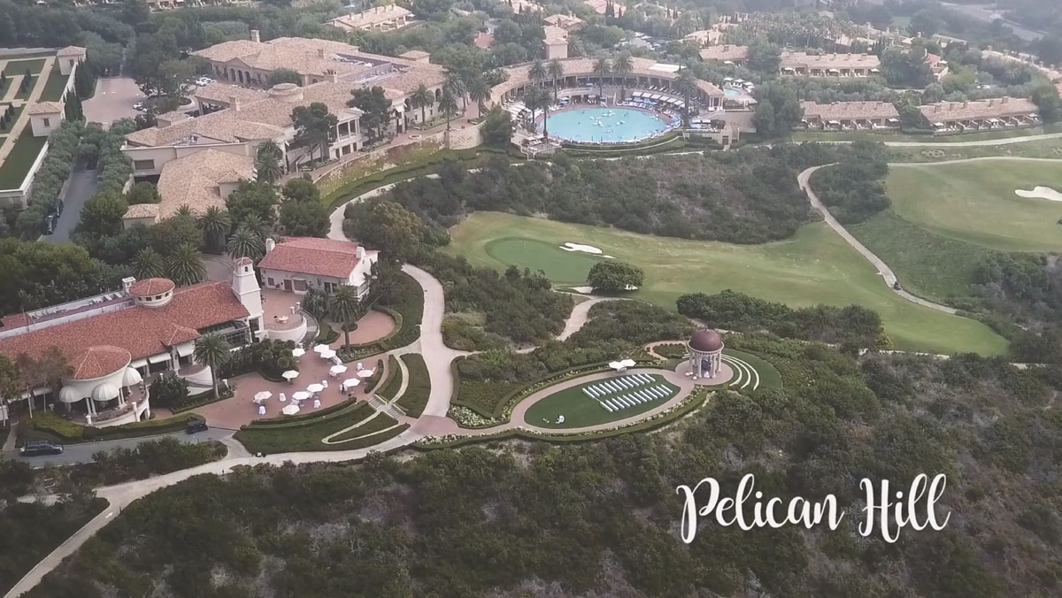 Wedding videography drone footage at the Pelican Hill Resort.