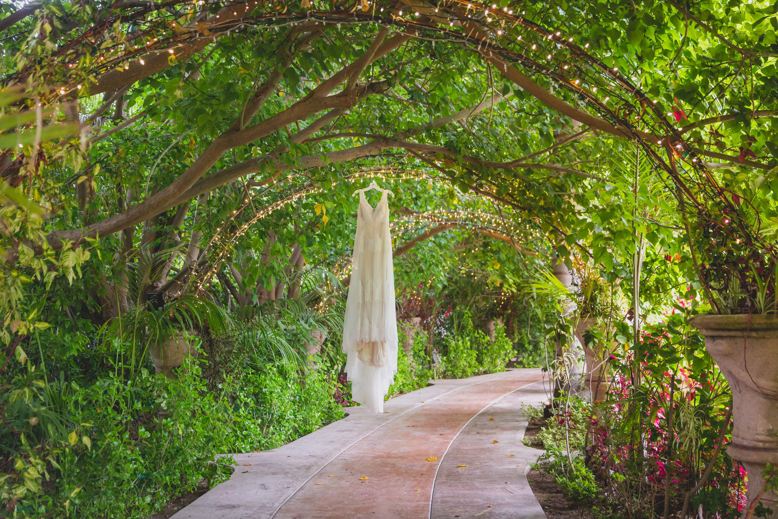 Wedding Photography - Something Old, Something New, Something Borrowed, Something Blue - Wedding dress hanging in a lush green garden walkway