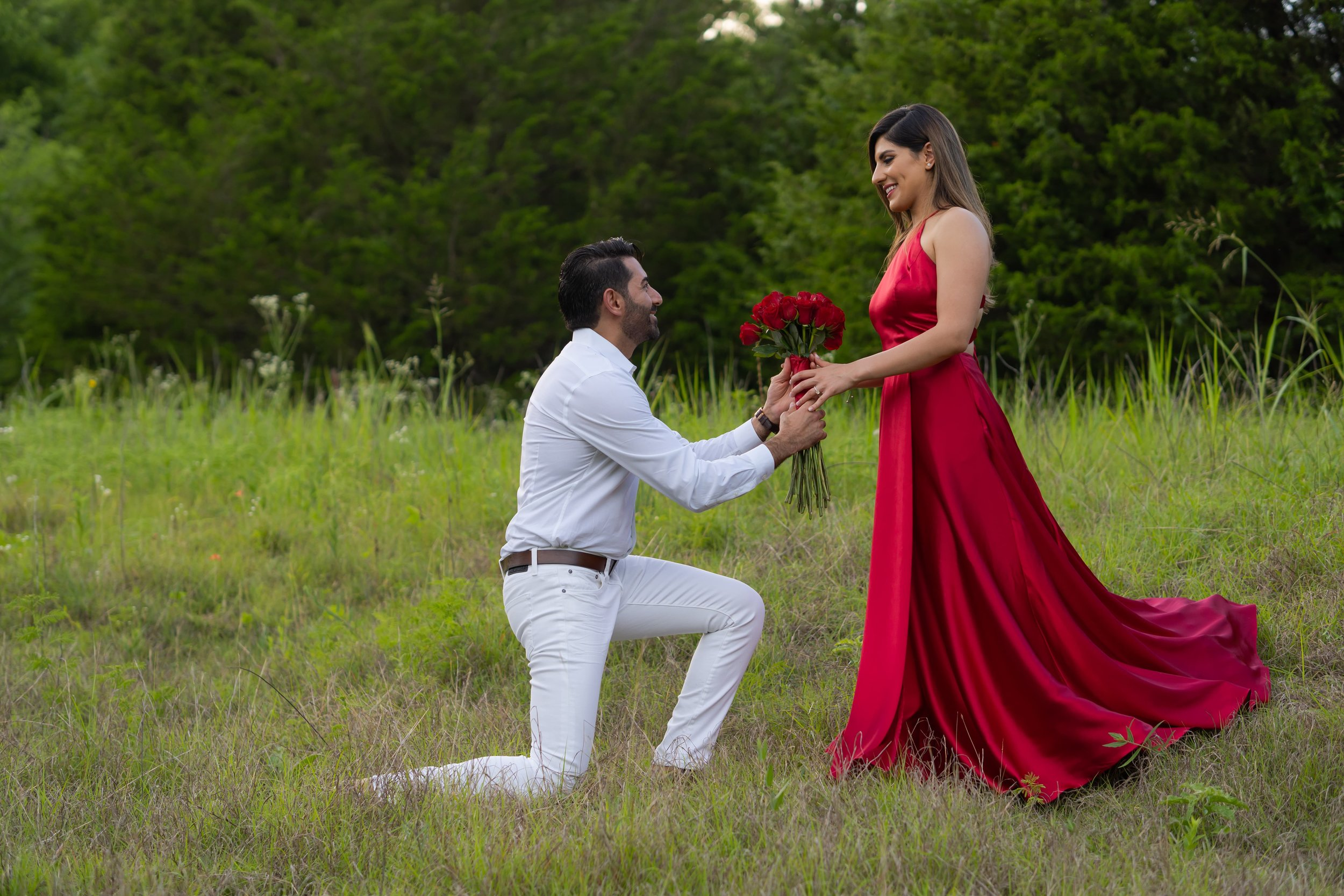 Engagement Photography Services, Lucas, TX - Man on one knee giving woman in red dress flowers.